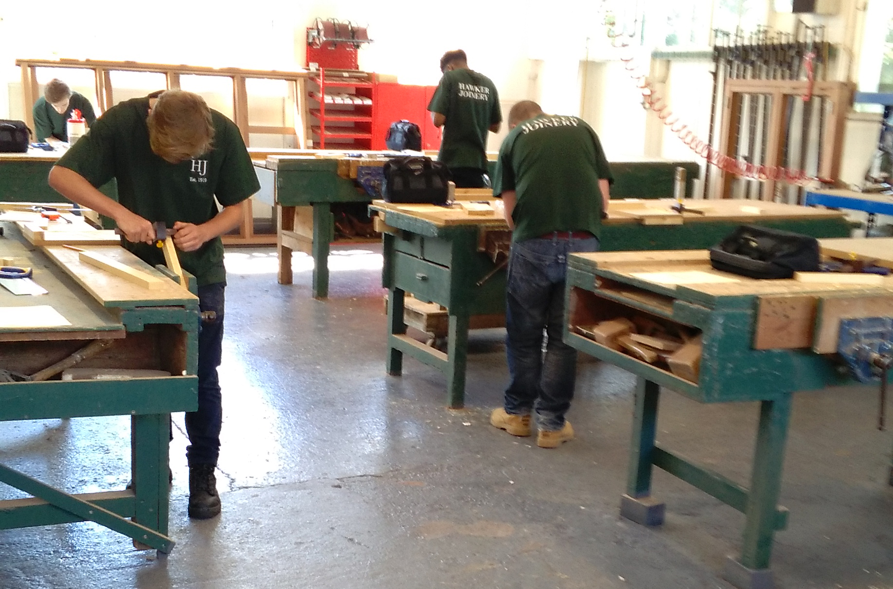 Hawker Joinery Apprentices in the Workshop